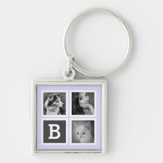 Purple and Gray 3 Instagram Photos and Monogram Keychain