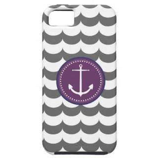 Purple and Gray Anchor with Waves Pattern iPhone 5 Cover