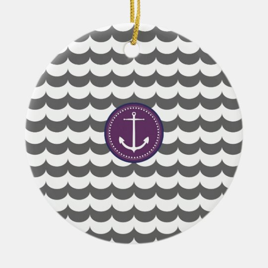 Purple and Gray Anchor with Waves Pattern Ceramic Ornament