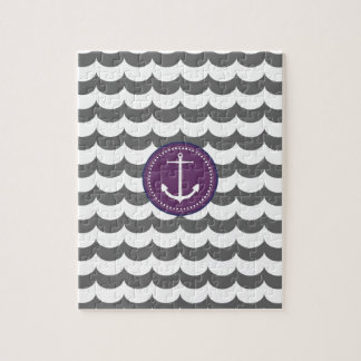 Purple and Gray Anchor with Waves Pattern Jigsaw Puzzles