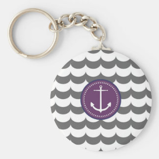Purple and Gray Anchor with Waves Pattern Keychain
