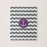 Purple and Gray Anchor with Waves Pattern Puzzle
