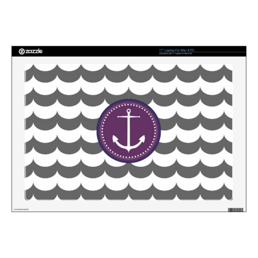 "Purple and Gray Anchor with Waves Pattern Decals For 17"" Laptops"