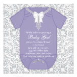Purple and Gray Baby Shower Announcement
