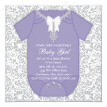 Purple and Gray Baby Shower 5.25x5.25 Square Paper Invitation Card