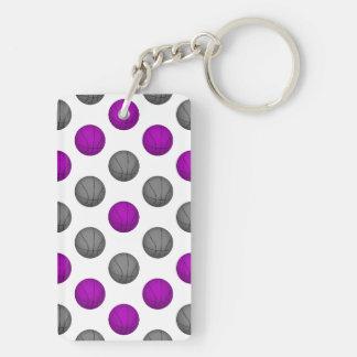 Purple and Gray Basketball Pattern Keychain