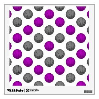 Purple and Gray Basketball Pattern Wall Sticker