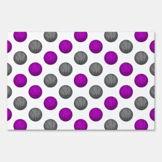 Purple and Gray Basketball Pattern Sign