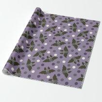 Purple and Gray Cartoon Bats Polka Dots Halloween Wrapping Paper