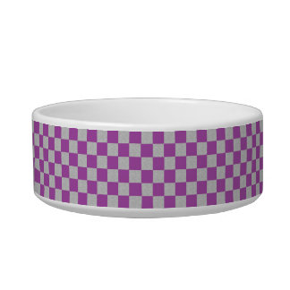 Purple and Gray Checkered Dog or Cat Bowl