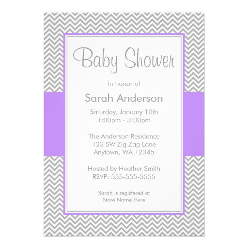 purple and gray chevron baby shower invitations 5 x 7 invitation