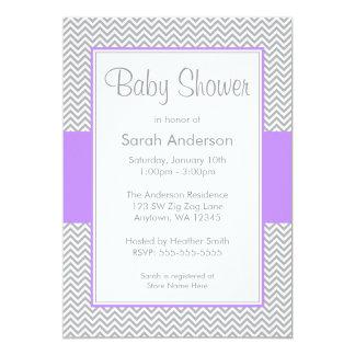 "Purple and Gray Chevron Baby Shower Invitations 5"" X 7"" Invitation Card"