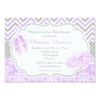 Purple and Gray Chevron Ballerina Baby Shower Card