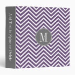 Purple and Gray Chevron Pattern with Monogram 3 Ring Binders
