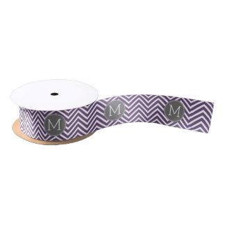 Purple and Gray Chevron Pattern with Monogram Blank Ribbon