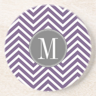 Purple and Gray Chevron Pattern with Monogram Coaster