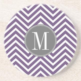 Purple and Gray Chevron Pattern with Monogram Coaster