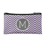 Purple and Gray Chevron Pattern with Monogram Cosmetic Bags