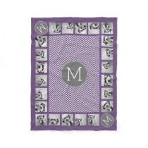 Purple and Gray Chevron Pattern with Monogram Fleece Blanket