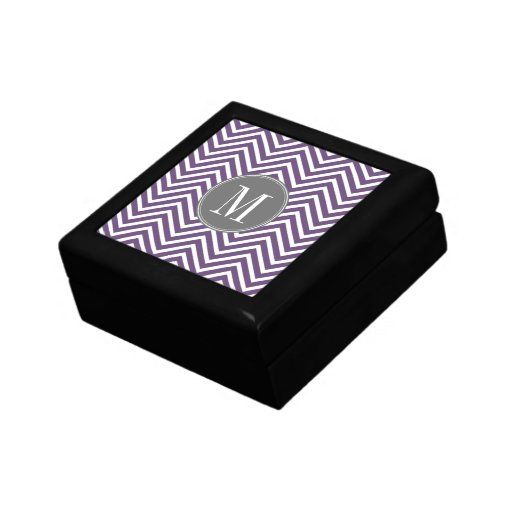 Purple and Gray Chevron Pattern with Monogram Trinket Boxes