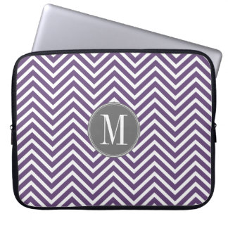 Purple and Gray Chevron Pattern with Monogram Laptop Computer Sleeves