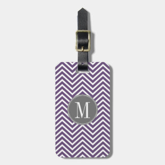 Purple and Gray Chevron Pattern with Monogram Luggage Tag