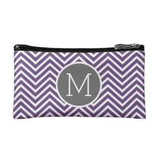 Purple and Gray Chevron Pattern with Monogram Makeup Bag
