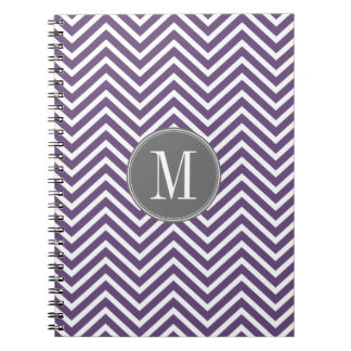 Purple and Gray Chevron Pattern with Monogram Notebooks