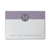 Purple and Gray Chevron Pattern with Monogram Post-it Notes