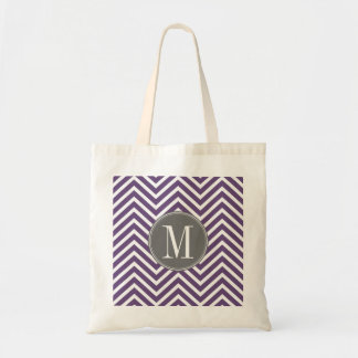 Purple and Gray Chevron Pattern with Monogram Tote Bag