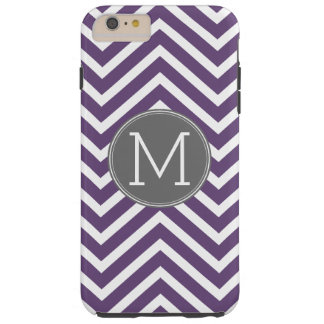 Purple and Gray Chevron Pattern with Monogram Tough iPhone 6 Plus Case