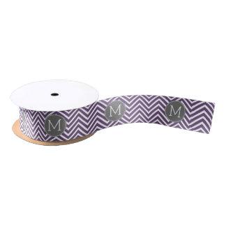 Purple and Gray Chevron Pattern with Monogram Satin Ribbon