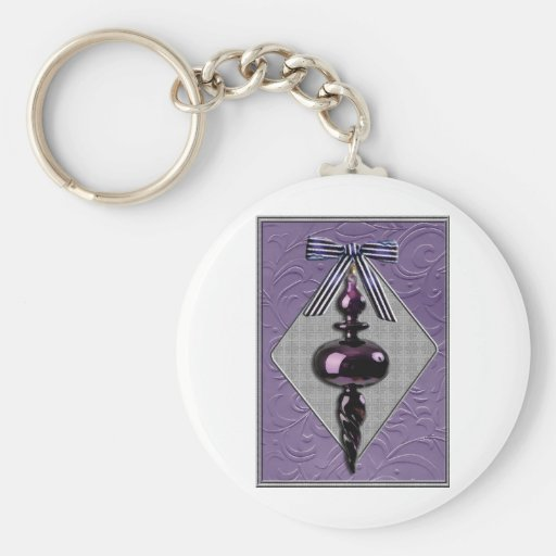 Purple and Gray Christmas Tree Ornament Basic Round Button Keychain