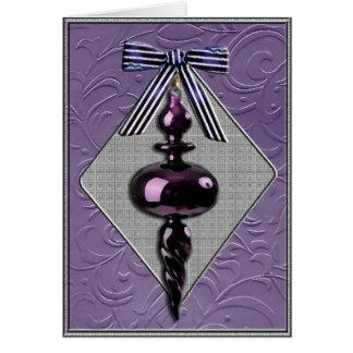 Purple and Gray Christmas Tree Ornament Greeting Card