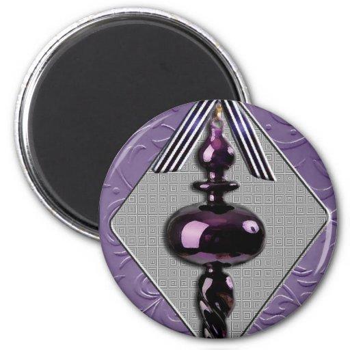 Purple and Gray Christmas Tree Ornament Refrigerator Magnet