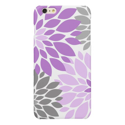 Purple and Gray Chrysanthemums Floral Pattern Glossy iPhone 6 Plus Case