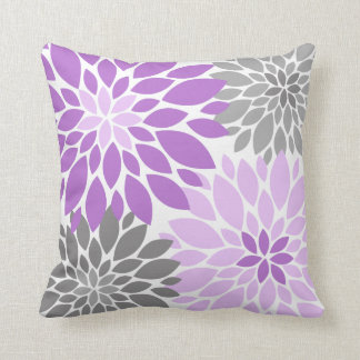 Purple and Gray Chrysanthemums Floral Pattern Throw Pillow