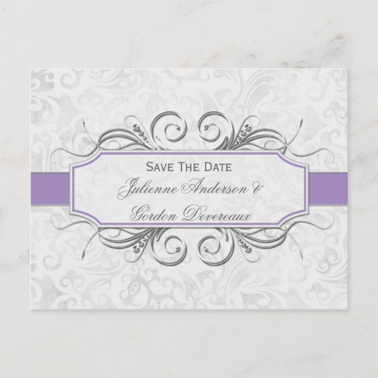 Purple and Gray Damask Save The Date Announcement Postcard