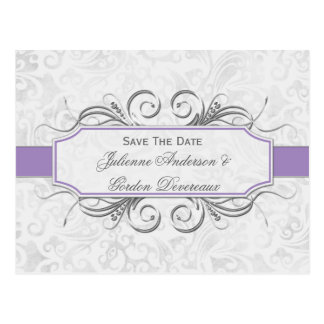 Purple and Gray Damask Save The Date Postcard