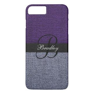 Purple and Gray Elegant Monogram iPhone 8 Plus/7 Plus Case