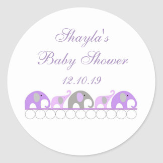 Purple and Gray Elephant Baby Shower Favor Classic Round Sticker
