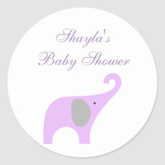 Purple and Gray Elephant Baby Shower Seal Sticker