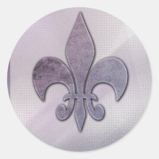 Purple and gray fleur-de-lis classic round sticker