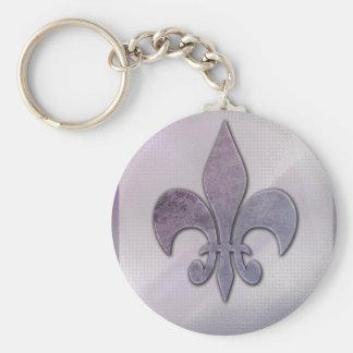 Purple and gray fleur-de-lis keychain