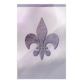 Purple and gray fleur-de-lis stationery
