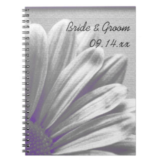 Purple and Gray Floral Highlights Wedding Spiral Notebook