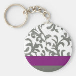 Purple and Gray Floral Pattern Keychain