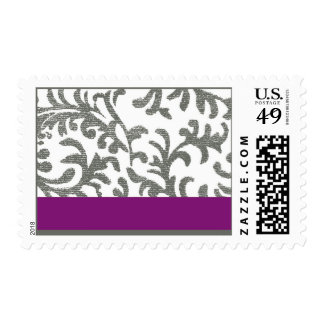Purple and Gray Floral Pattern Postage Stamp