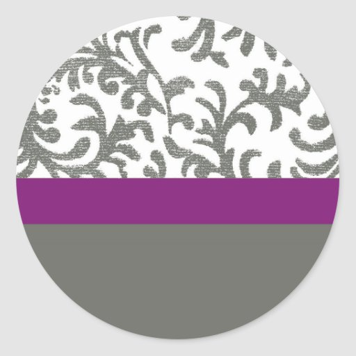 Purple and Gray Floral Pattern Round Sticker