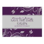 Purple and Gray Floral Swirls Save The Date Postcard